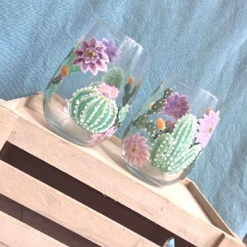 Cactus Stemless Wine Glass Set- Hand Painted Wine Glass - Cactus Drinkware - Stemless Glasses - Cac