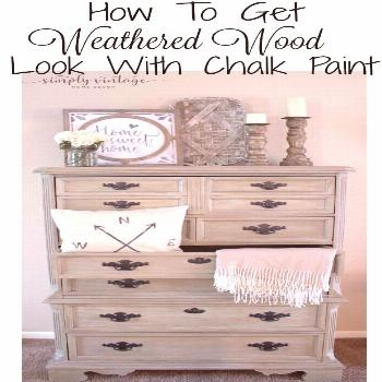 Farmhouse Dresser Makeover- Learn how to get a weathered wood look using chalk paint. This look is