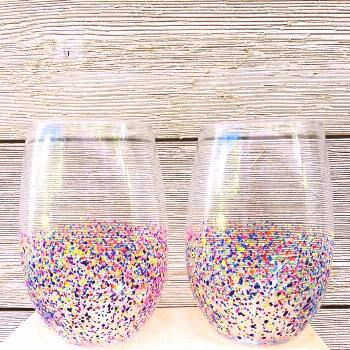 Hand painted Confetti stemless wine glass set | Etsy