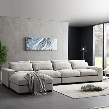 Pannow Feather Filled Sectional Sofa Couch,155 Wide