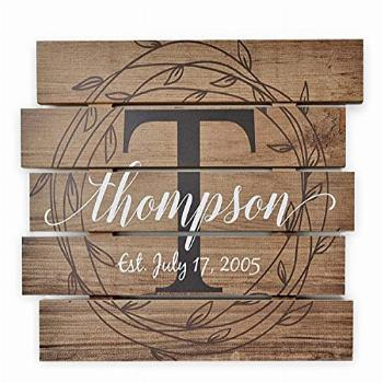 Personalized Printed Wood Family Name Sign With Rustic