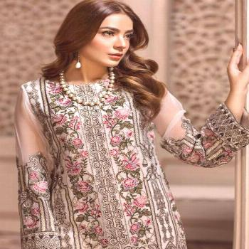 Shop Online Off White Georgette Embroidered Designer Party Wear Pakistani Suits Jazmin 900406 By De