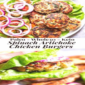 Spinach Artichoke Chicken Burgers {Paleo, Whole30, Keto} These chicken burgers are packed with vegg