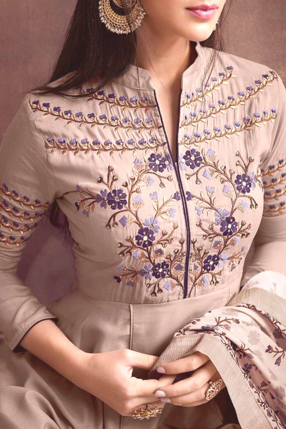 Embroidered Muslin Cotton Pakistani Suit Light Fawn